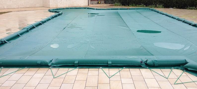 fissaggio dei teli per piscine: fissaggio combinato
