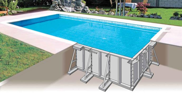 sezione struttura piscina in pannelli d'acciaio