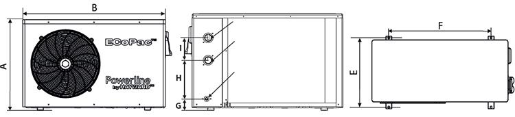 Dimensioni pompe di calore Ecopac