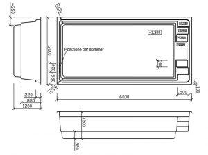 Disegno tecnico piscine in vetroresina Fenix