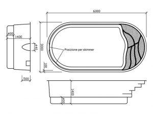 Disegno tecnico piscine in vetroresina Ikaros