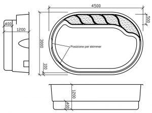 Disegno tecnico piscine in vetroresina Olymp