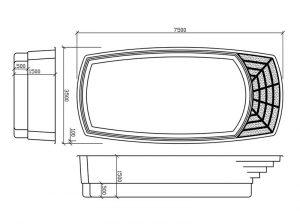 Disegno tecnico piscine in vetroresina Orion
