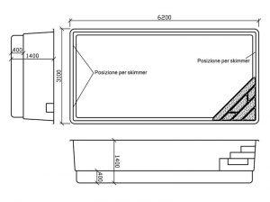 Disegno tecnico piscine in vetroresina Pegas