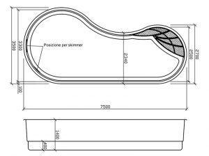 disegno tecnico piscine in vetroresina rhodos