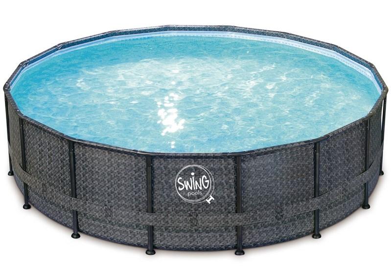 piscina fuori terra swing wicker - dark