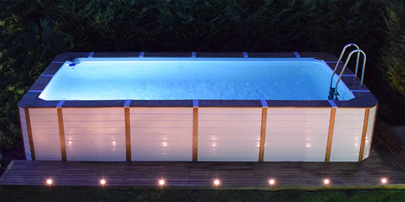 piscine rivestite in legno bianco perla