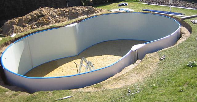 piscine fuori terra in lamiera d'acciaio semi-interrate