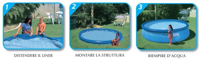 montaggio piscine gonfiabili circolari
