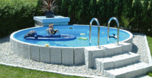 piscine in acciaio fuori terra circolare seminterrata