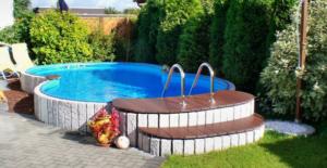 piscine in acciaio fuori terra a otto seminterrata bordi in pietra