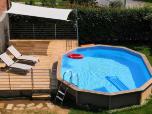 piscina fuori terra effetto legno