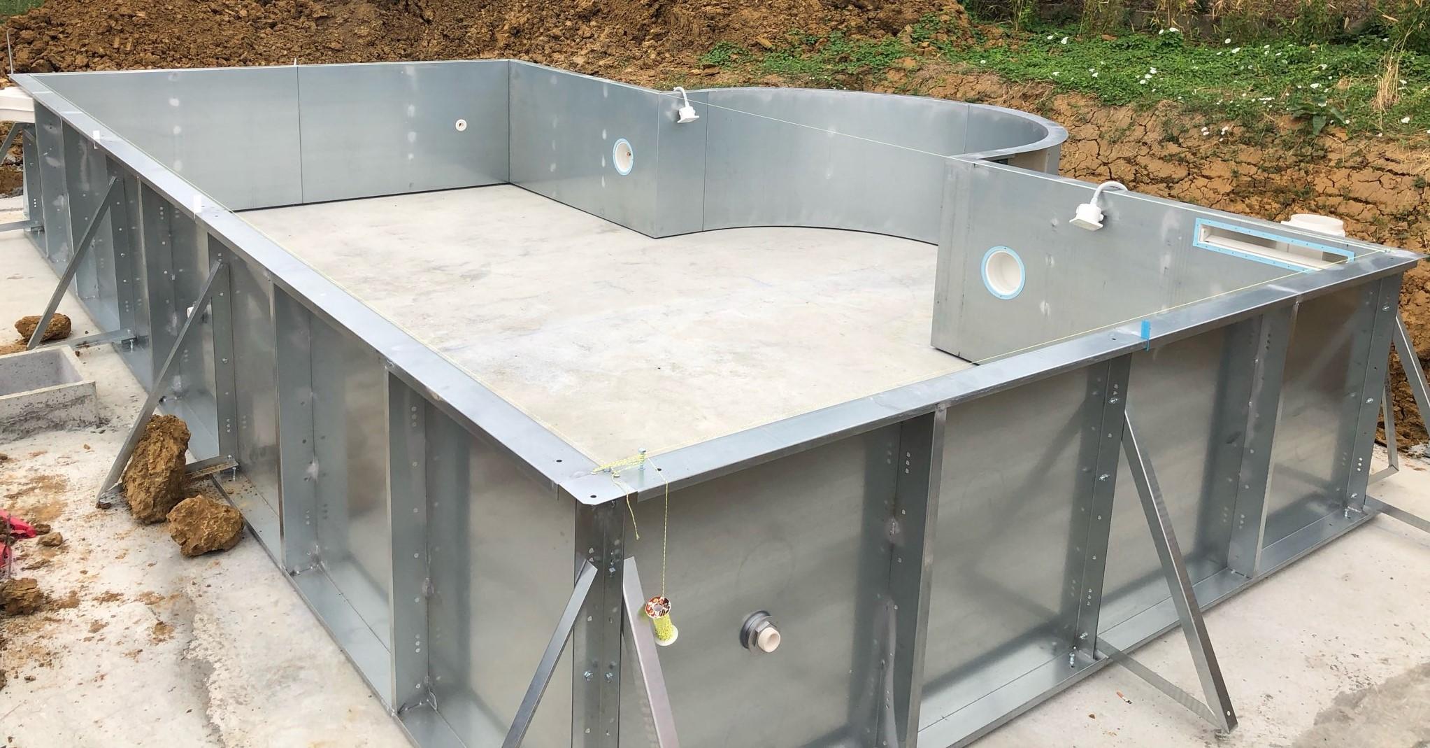 struttura autoportante piscine in pannelli d'acciaio