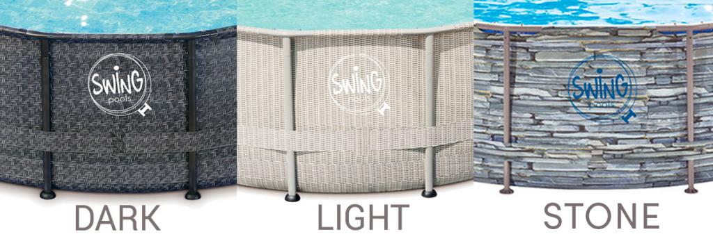 trame per le piscine fuori terra Swing: Dark, Light, Stone